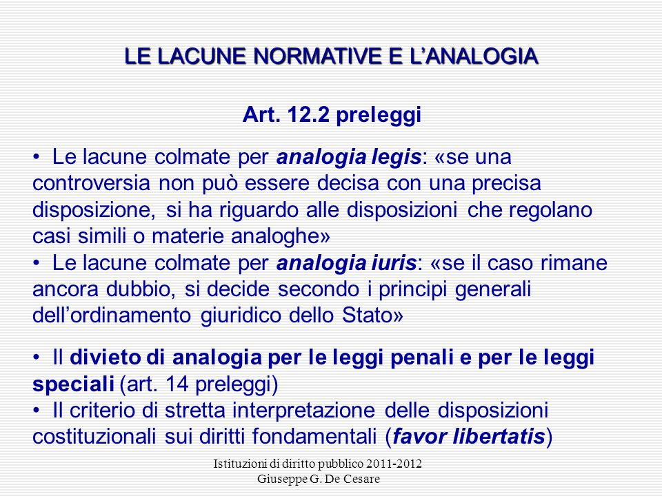LE LACUNE NORMATIVE E L'ANALOGIA