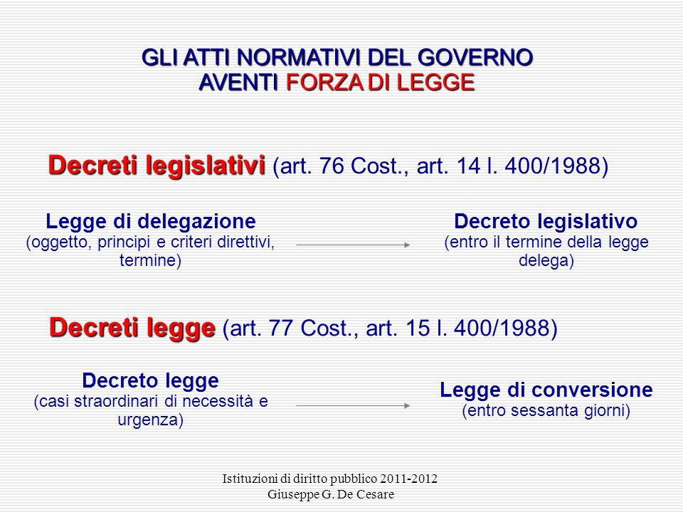 Decreti legislativi (art. 76 Cost., art. 14 l. 400/1988)