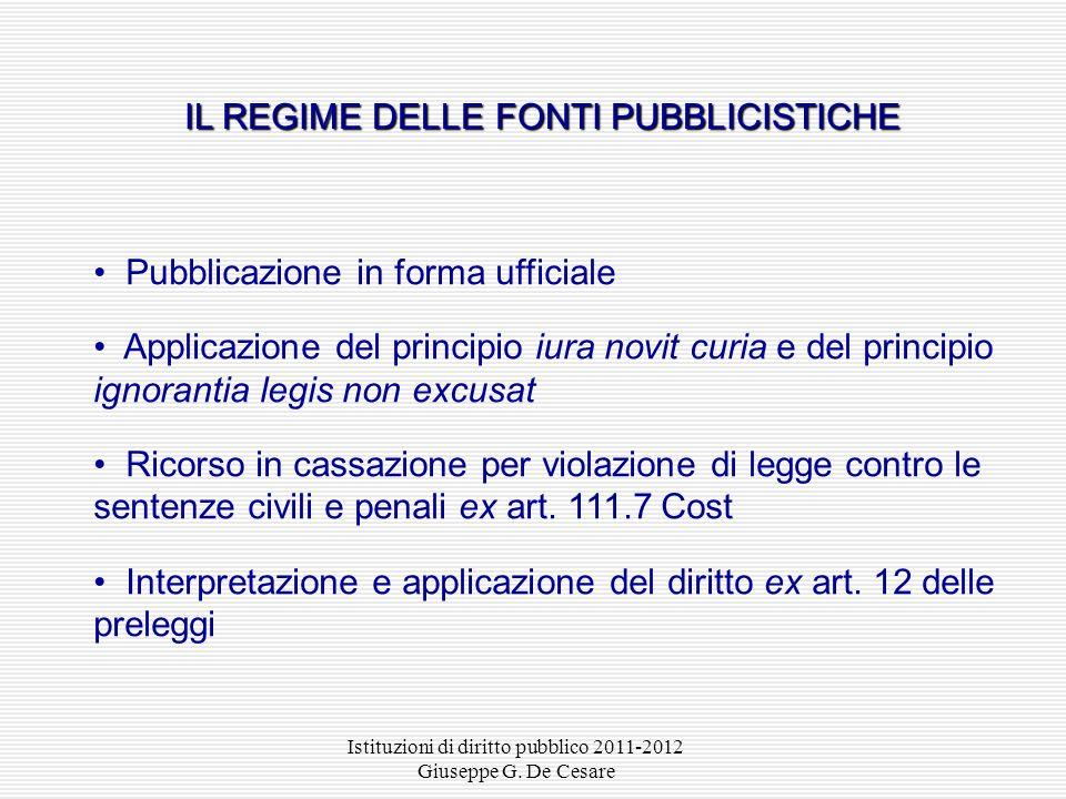 IL REGIME DELLE FONTI PUBBLICISTICHE