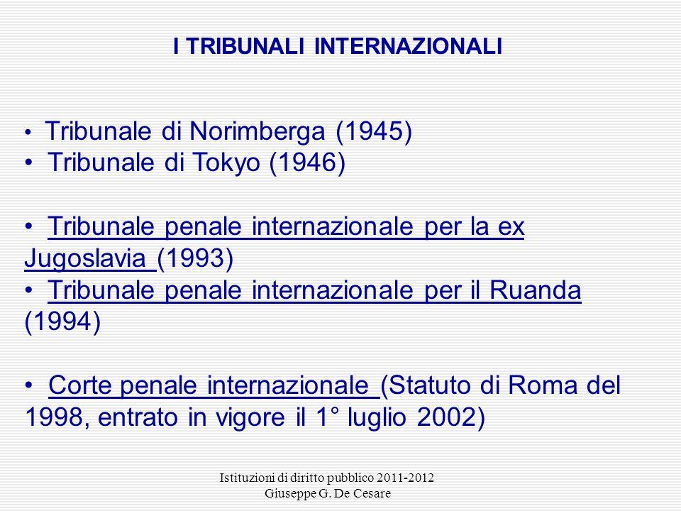 I TRIBUNALI INTERNAZIONALI
