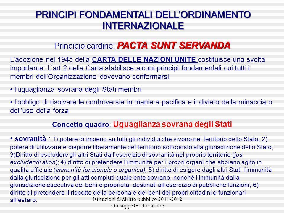 PRINCIPI FONDAMENTALI DELL'ORDINAMENTO INTERNAZIONALE