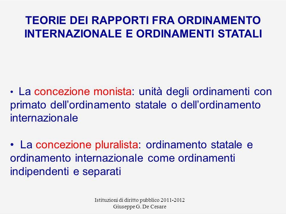 Istituzioni di diritto pubblico 2011-2012 Giuseppe G. De Cesare