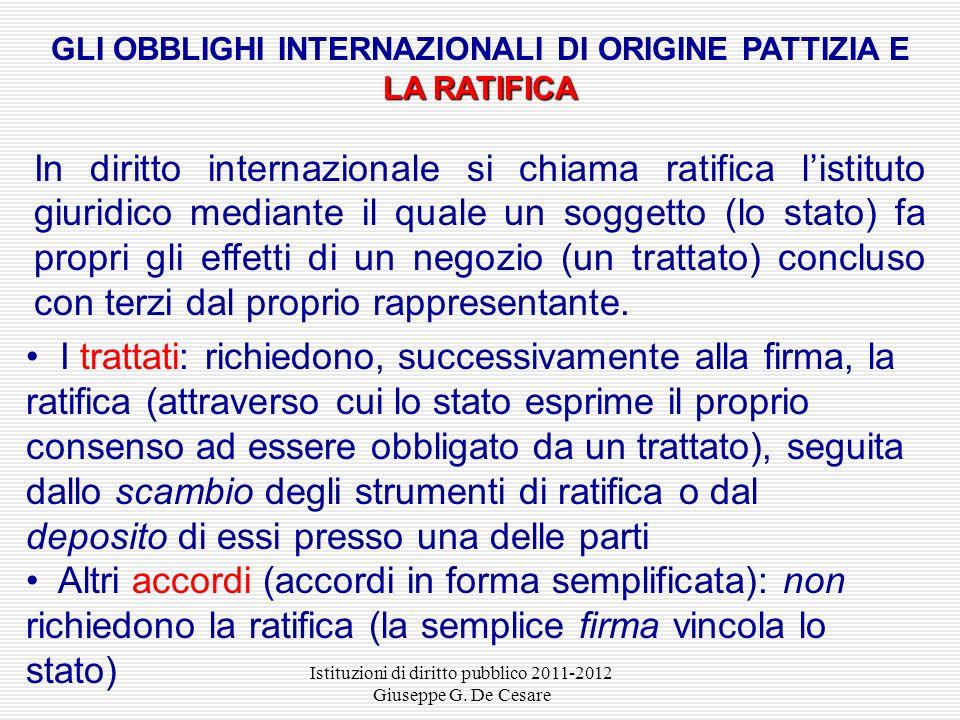 GLI OBBLIGHI INTERNAZIONALI DI ORIGINE PATTIZIA E LA RATIFICA