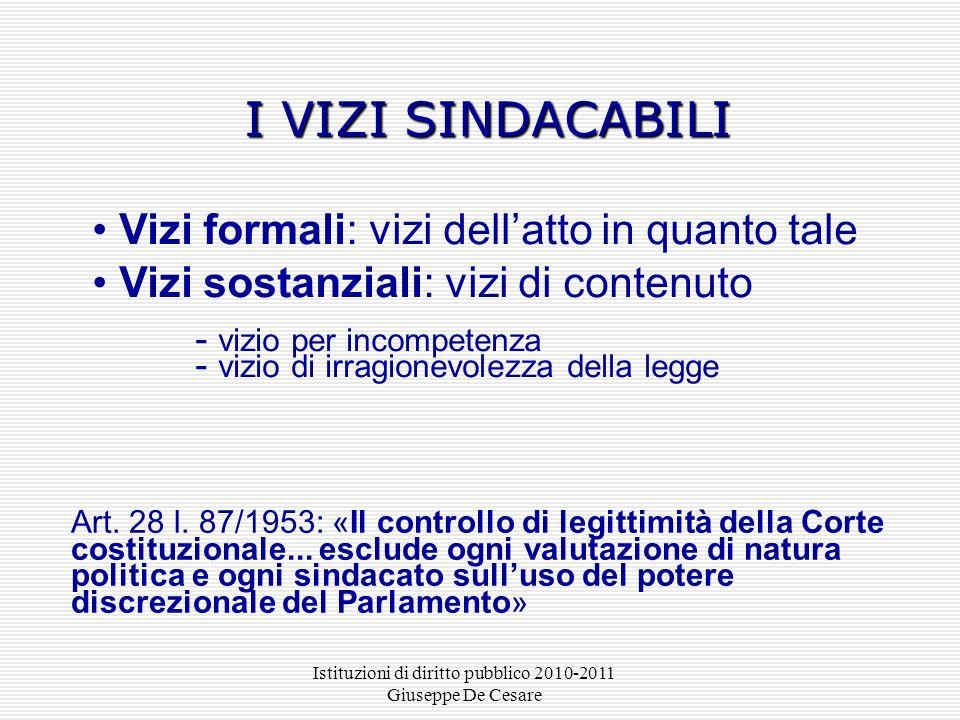 Istituzioni di diritto pubblico 2010-2011 Giuseppe De Cesare