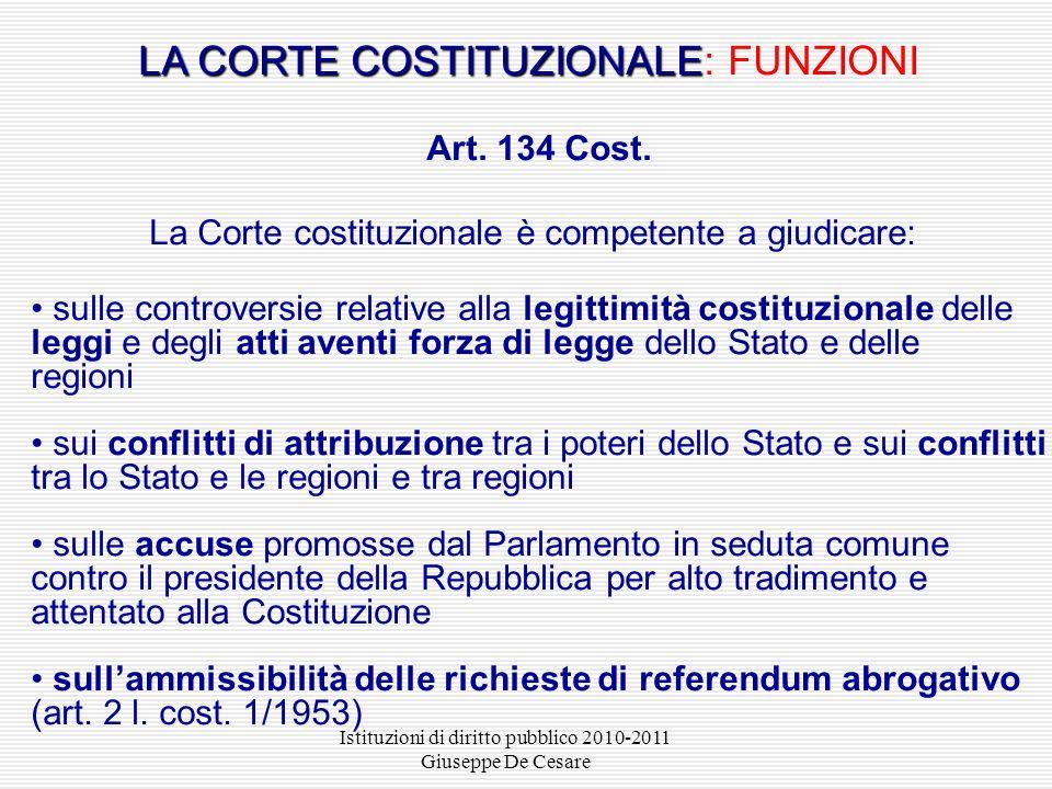 LA CORTE COSTITUZIONALE: FUNZIONI