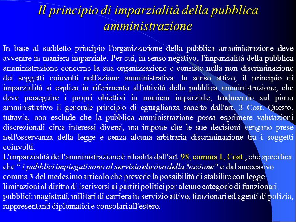 Il principio di imparzialità della pubblica amministrazione