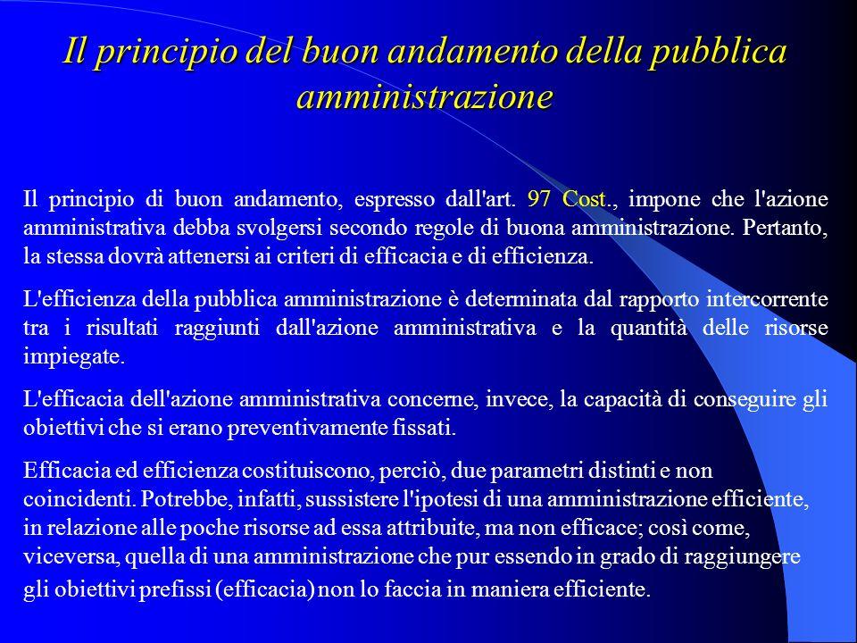 Il principio del buon andamento della pubblica amministrazione