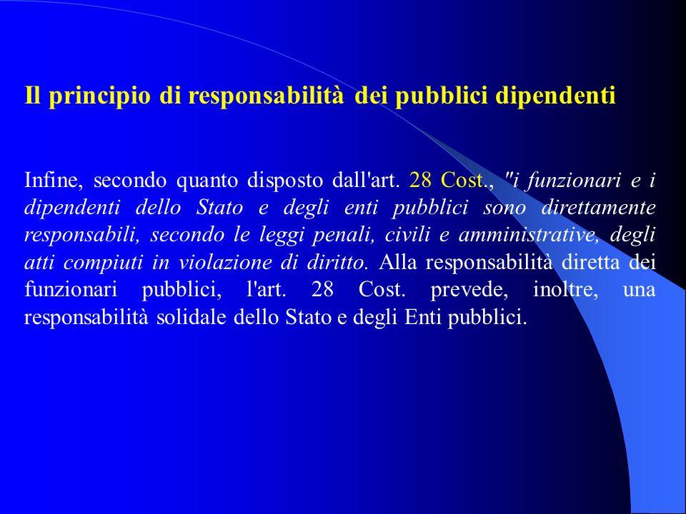 Il principio di responsabilità dei pubblici dipendenti