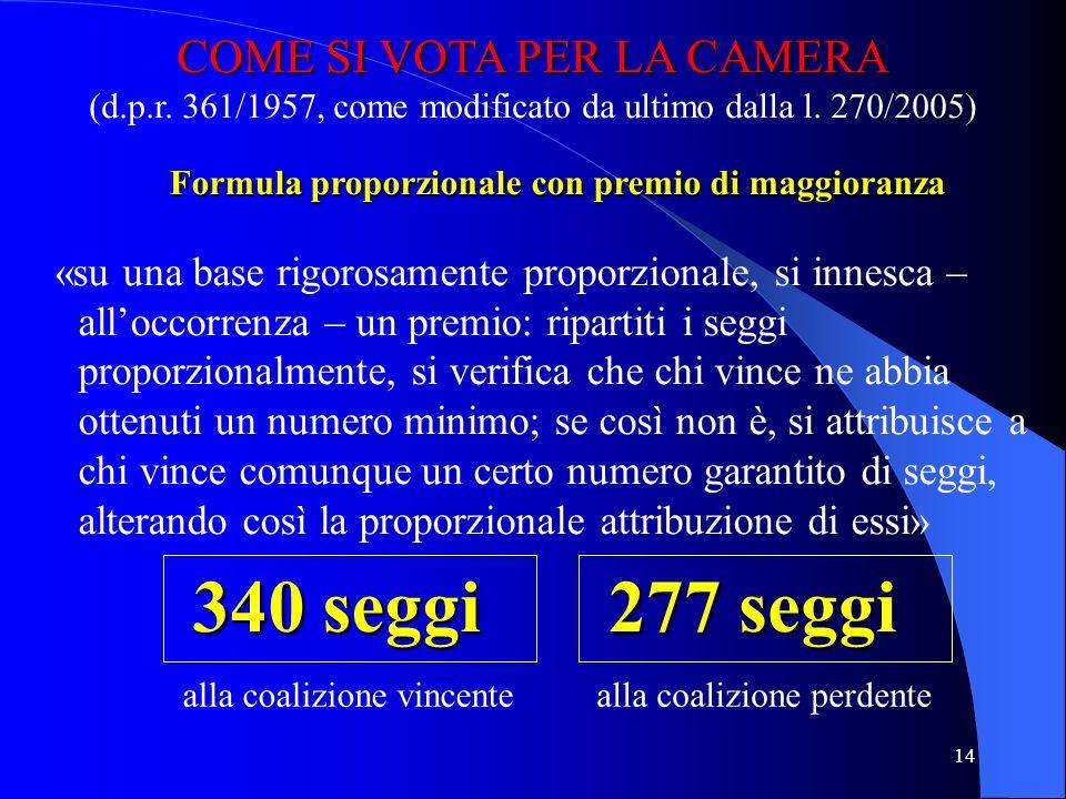 Formula proporzionale con premio di maggioranza
