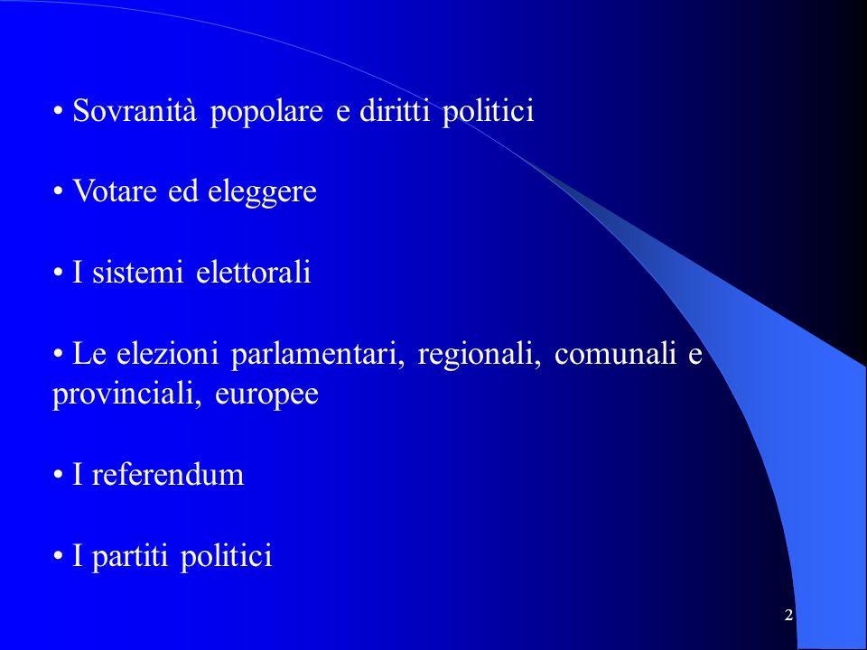 • Sovranità popolare e diritti politici