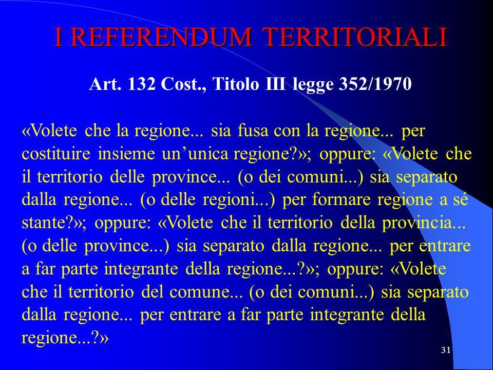 Art. 132 Cost., Titolo III legge 352/1970
