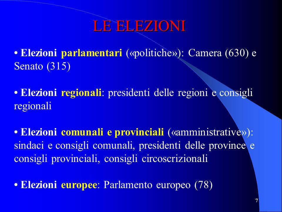 LE ELEZIONI • Elezioni parlamentari («politiche»): Camera (630) e Senato (315) • Elezioni regionali: presidenti delle regioni e consigli regionali.