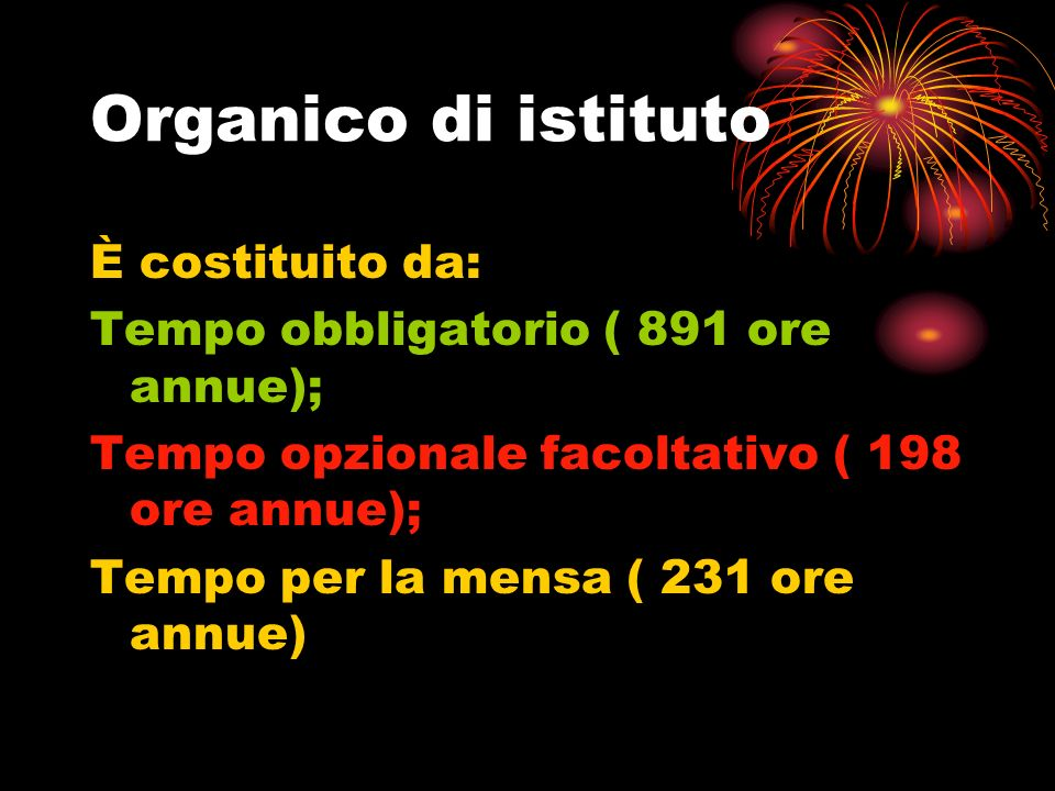 Organico di istituto È costituito da: