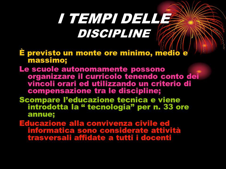 I TEMPI DELLE DISCIPLINE
