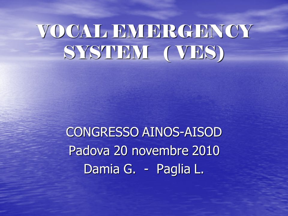 VOCAL EMERGENCY SYSTEM ( VES)