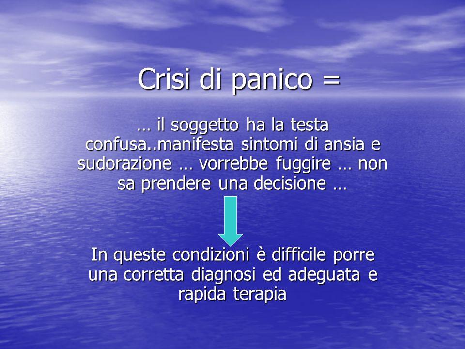 Crisi di panico =… il soggetto ha la testa confusa..manifesta sintomi di ansia e sudorazione … vorrebbe fuggire … non sa prendere una decisione …
