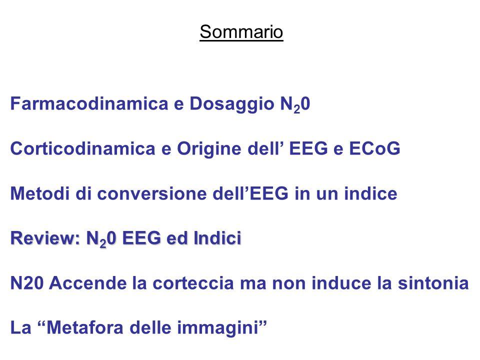 Sommario Farmacodinamica e Dosaggio N20. Corticodinamica e Origine dell' EEG e ECoG. Metodi di conversione dell'EEG in un indice.