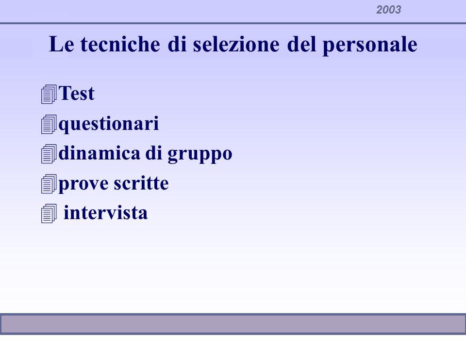 Le tecniche di selezione del personale