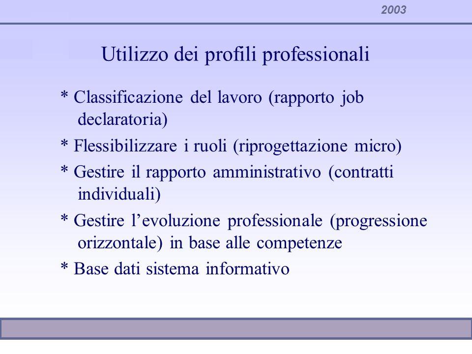 Utilizzo dei profili professionali