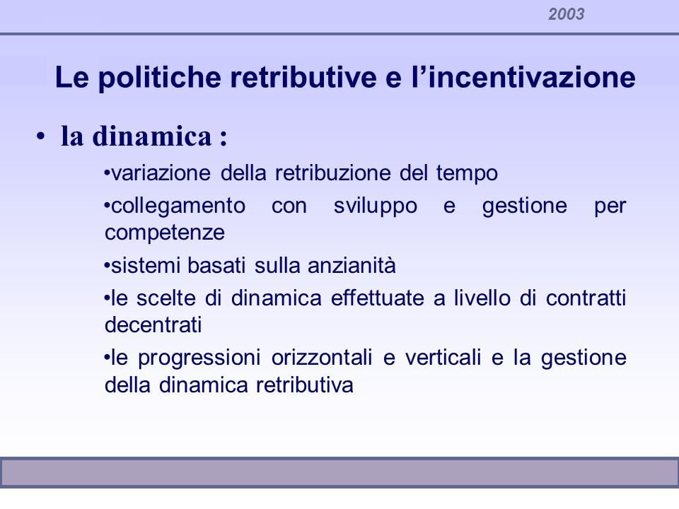 Le politiche retributive e l'incentivazione