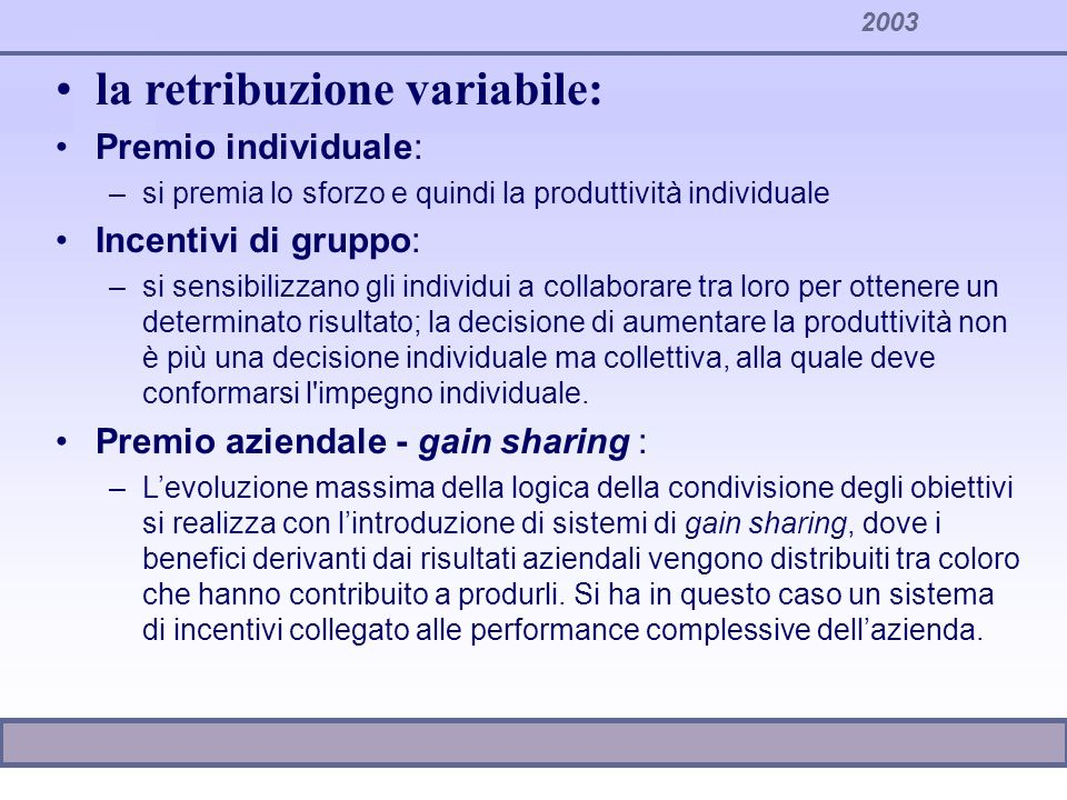 la retribuzione variabile: