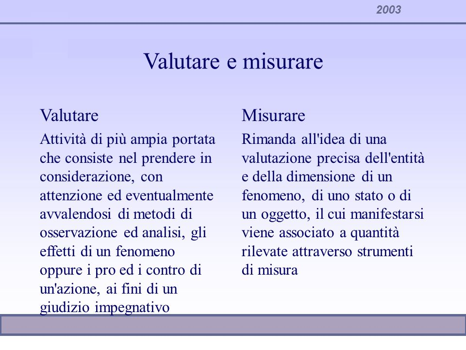 Valutare e misurare Valutare Misurare