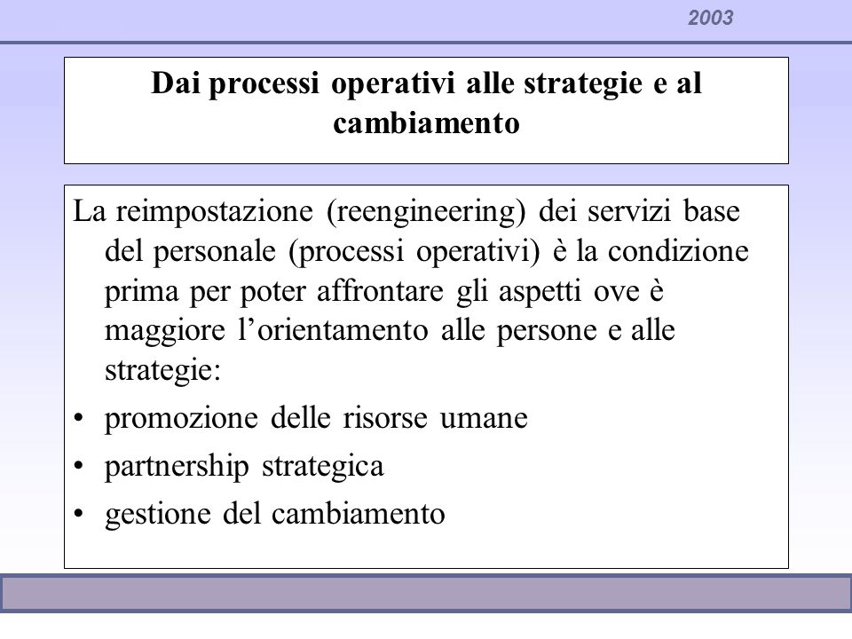 Dai processi operativi alle strategie e al cambiamento