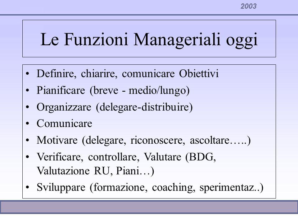 Le Funzioni Manageriali oggi