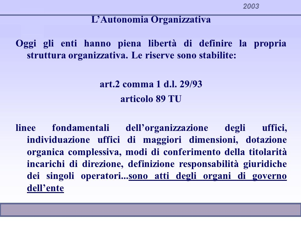 L'Autonomia Organizzativa