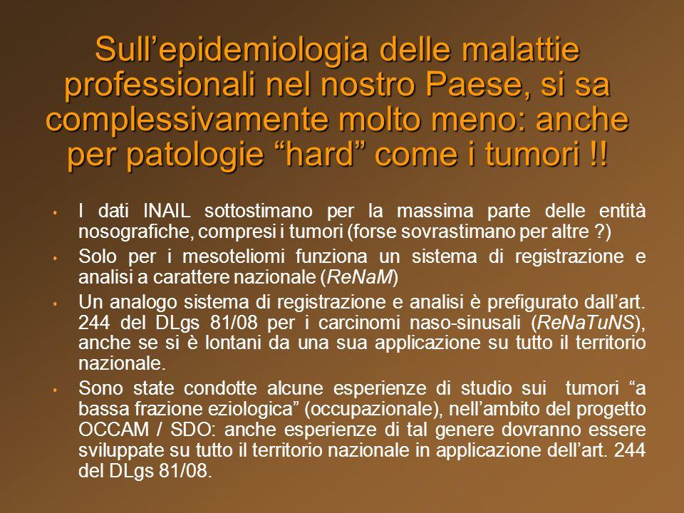 Sull'epidemiologia delle malattie professionali nel nostro Paese, si sa complessivamente molto meno: anche per patologie hard come i tumori !!