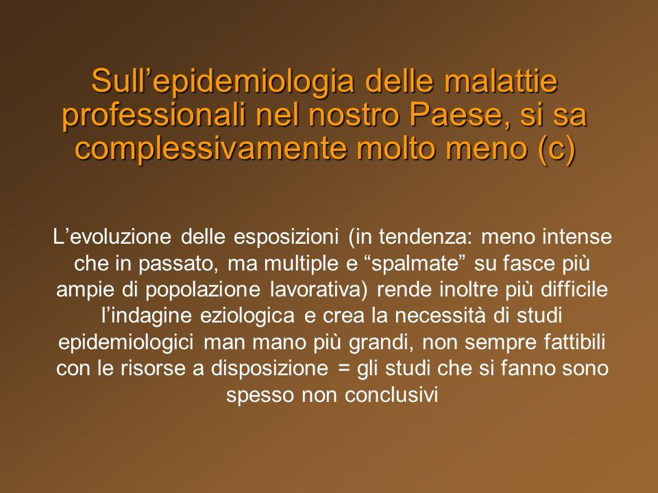 Sull'epidemiologia delle malattie professionali nel nostro Paese, si sa complessivamente molto meno (c)