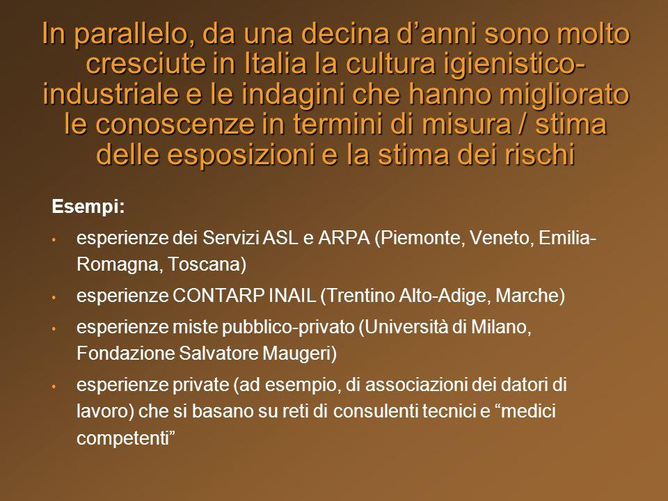 In parallelo, da una decina d'anni sono molto cresciute in Italia la cultura igienistico-industriale e le indagini che hanno migliorato le conoscenze in termini di misura / stima delle esposizioni e la stima dei rischi