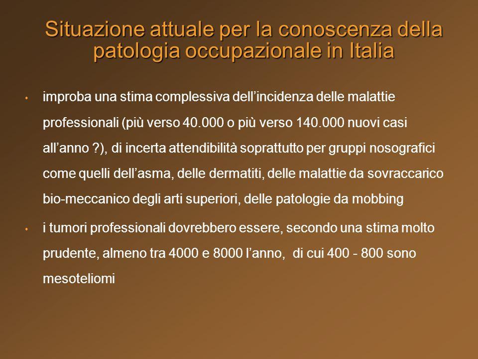 Situazione attuale per la conoscenza della patologia occupazionale in Italia