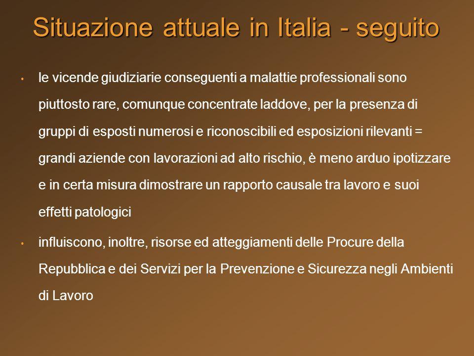 Situazione attuale in Italia - seguito