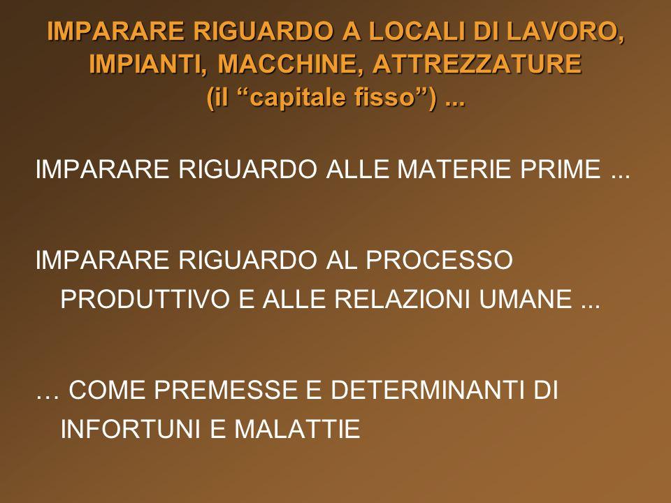 IMPARARE RIGUARDO A LOCALI DI LAVORO, IMPIANTI, MACCHINE, ATTREZZATURE (il capitale fisso ) ...