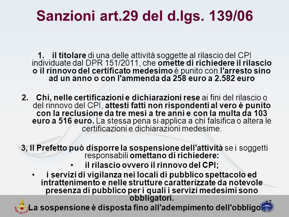 Sanzioni art.29 del d.lgs. 139/06