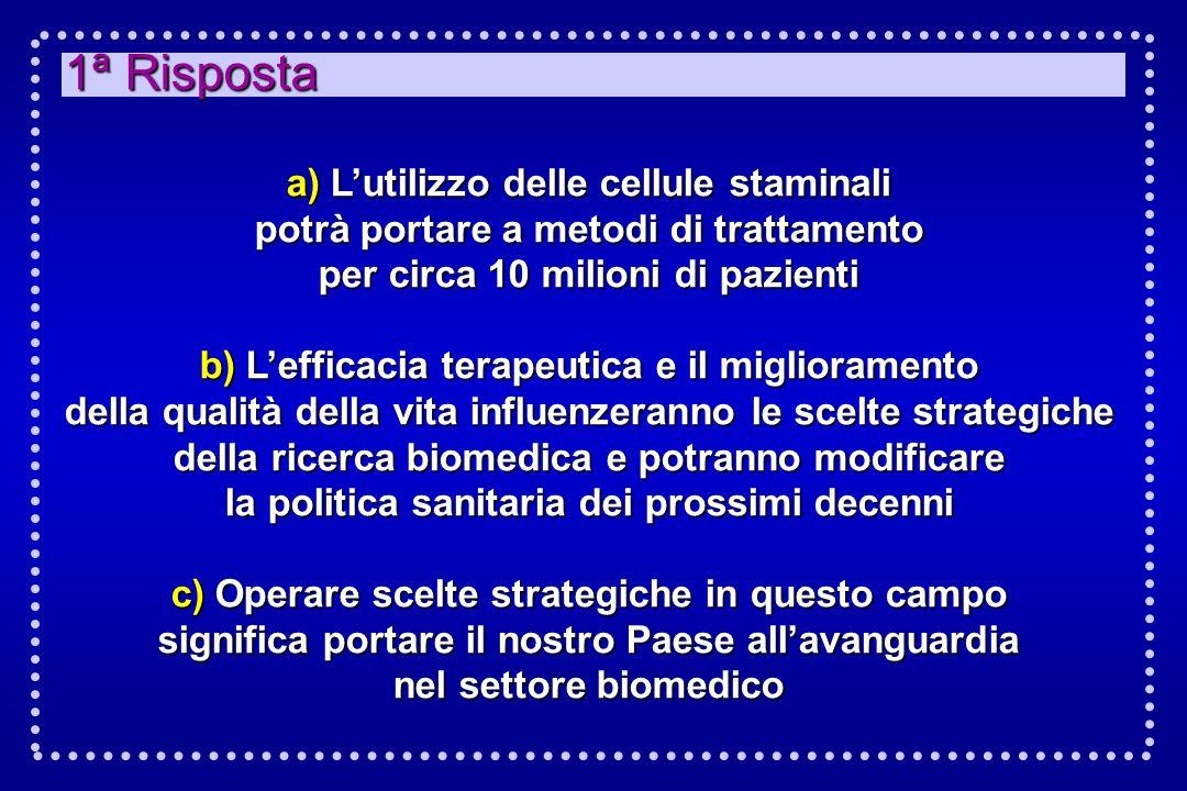 1ª Risposta a) L'utilizzo delle cellule staminali