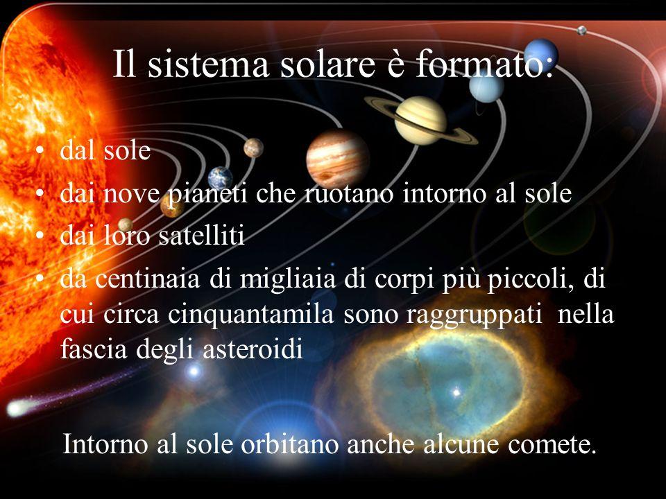 Il sistema solare è formato: