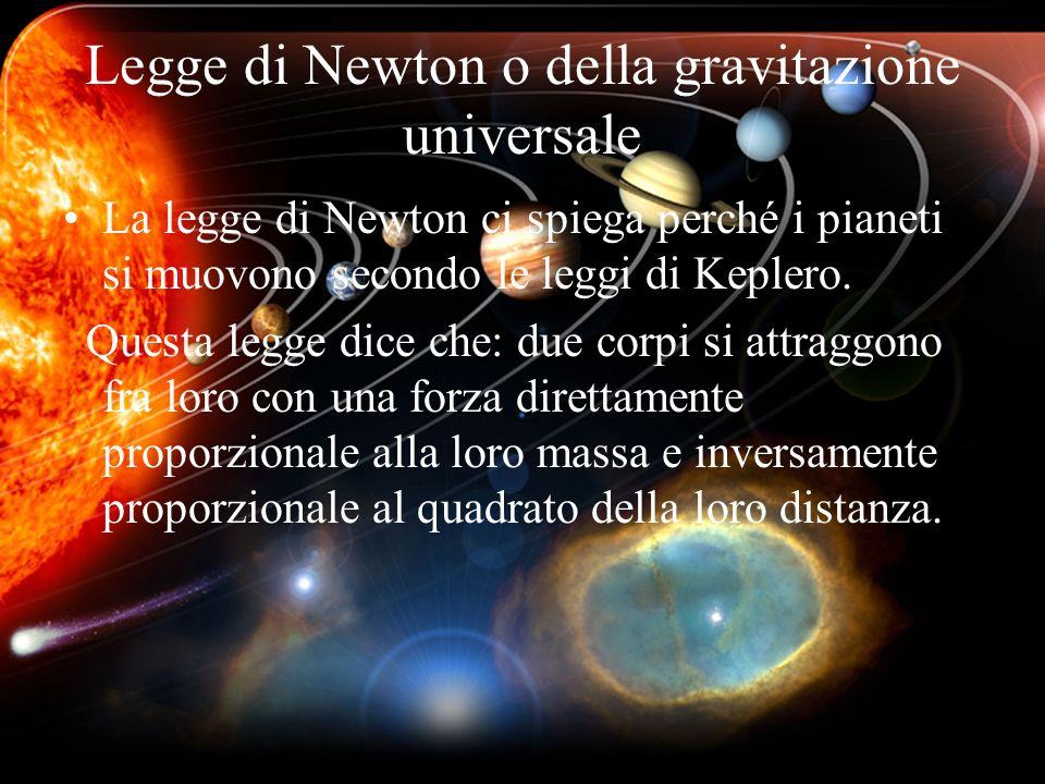 Legge di Newton o della gravitazione universale