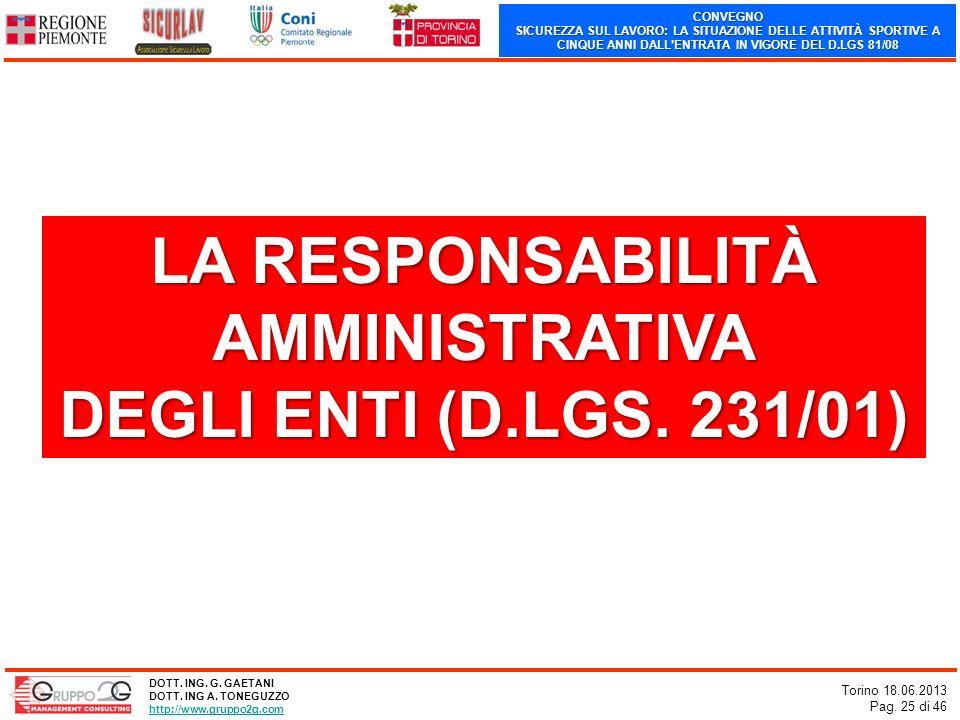 LA RESPONSABILITÀ AMMINISTRATIVA DEGLI ENTI (D.LGS. 231/01)