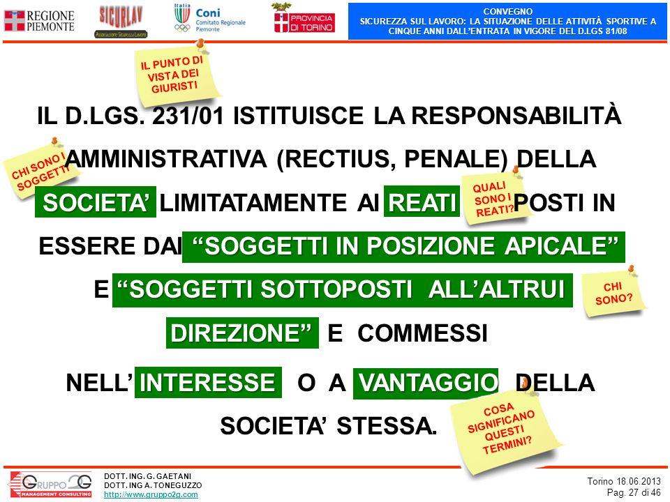 NELL' INTERESSE O A VANTAGGIO DELLA SOCIETA' STESSA.