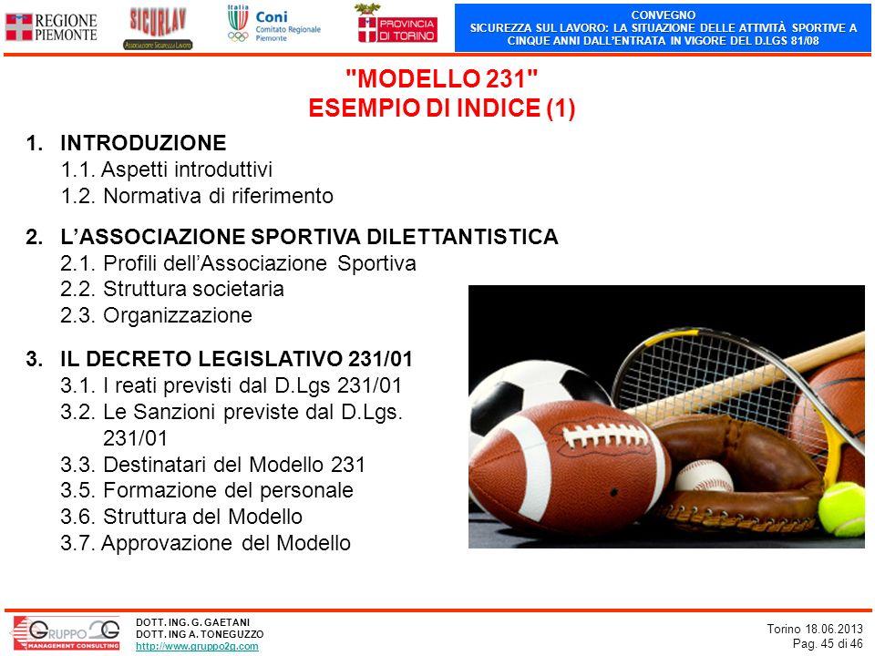MODELLO 231 ESEMPIO DI INDICE (1)
