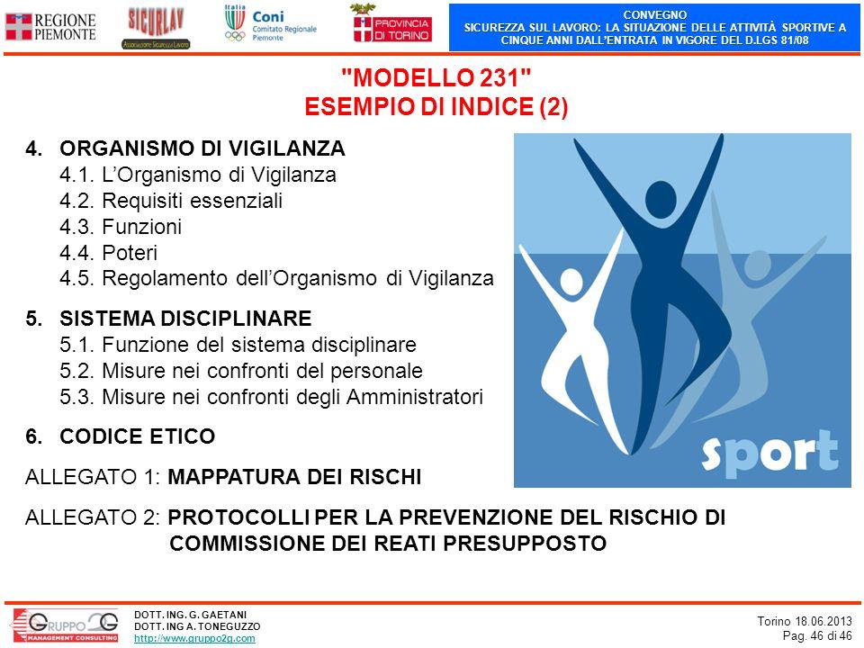 MODELLO 231 ESEMPIO DI INDICE (2)