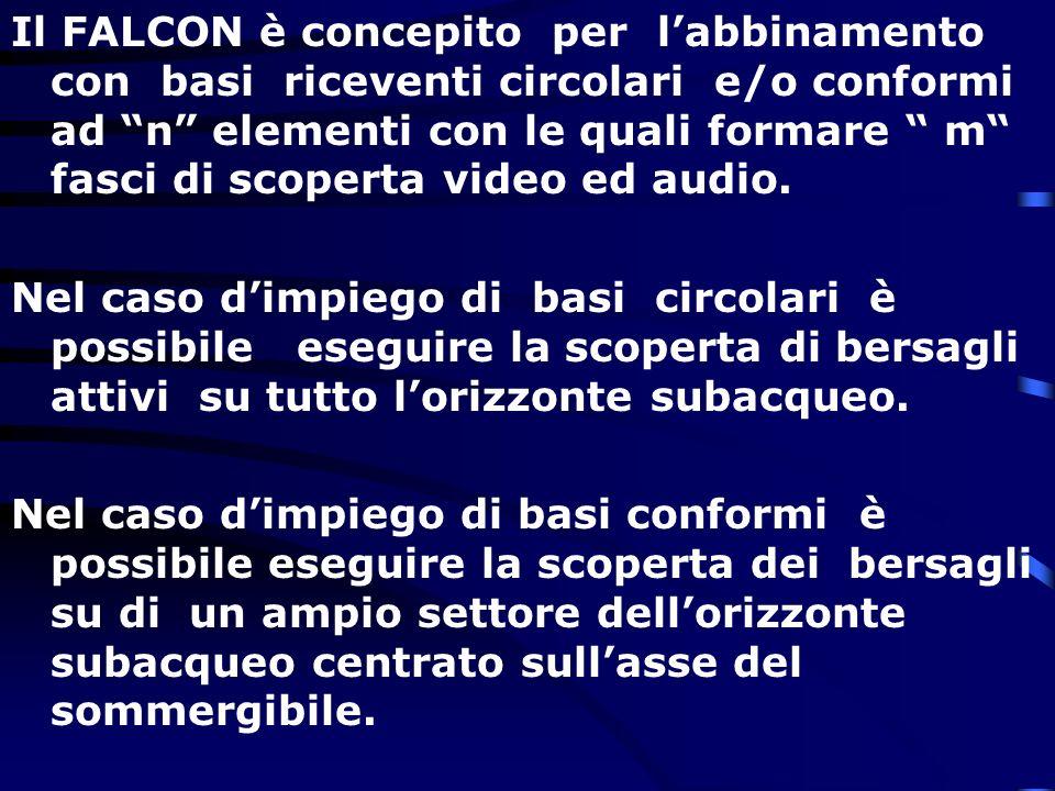 Il FALCON è concepito per l'abbinamento con basi riceventi circolari e/o conformi ad n elementi con le quali formare m fasci di scoperta video ed audio.