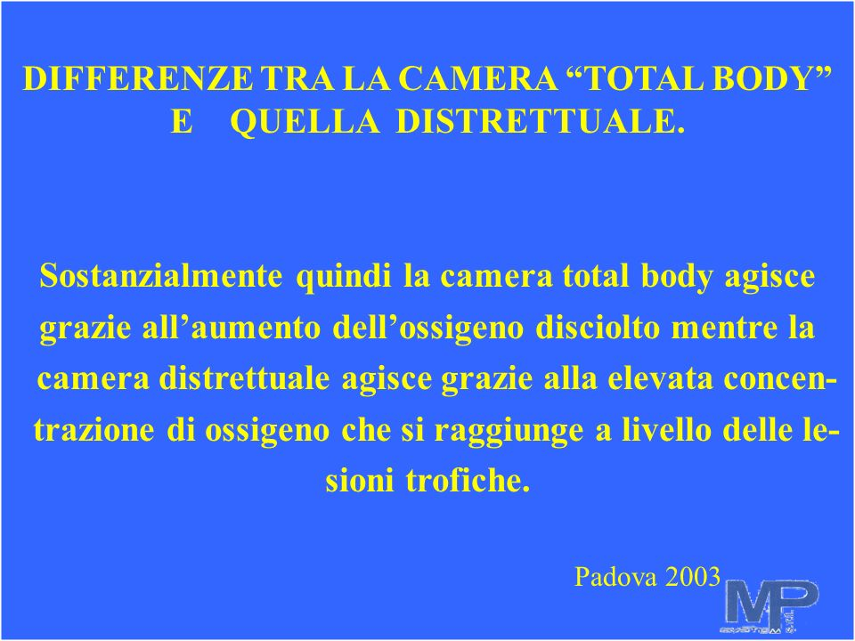 DIFFERENZE TRA LA CAMERA TOTAL BODY E QUELLA DISTRETTUALE.