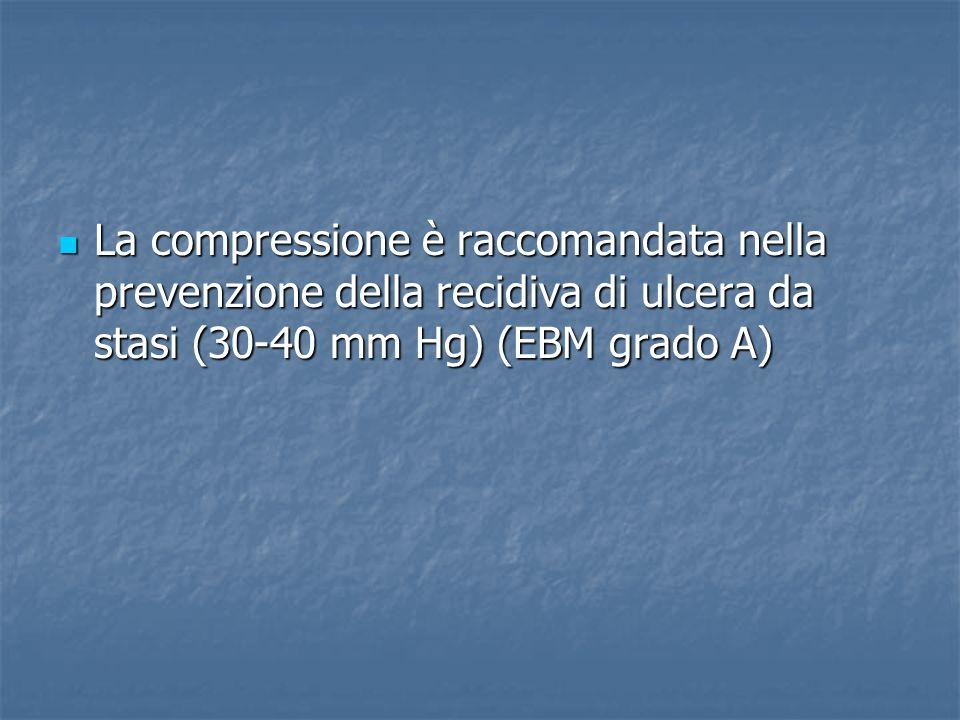 La compressione è raccomandata nella prevenzione della recidiva di ulcera da stasi (30-40 mm Hg) (EBM grado A)