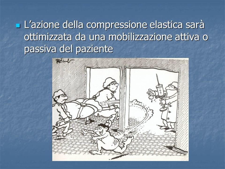L'azione della compressione elastica sarà ottimizzata da una mobilizzazione attiva o passiva del paziente