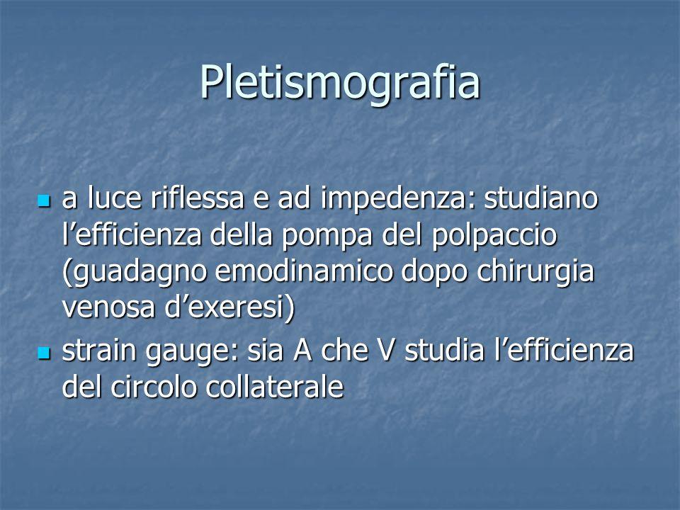 Pletismografia a luce riflessa e ad impedenza: studiano l'efficienza della pompa del polpaccio (guadagno emodinamico dopo chirurgia venosa d'exeresi)