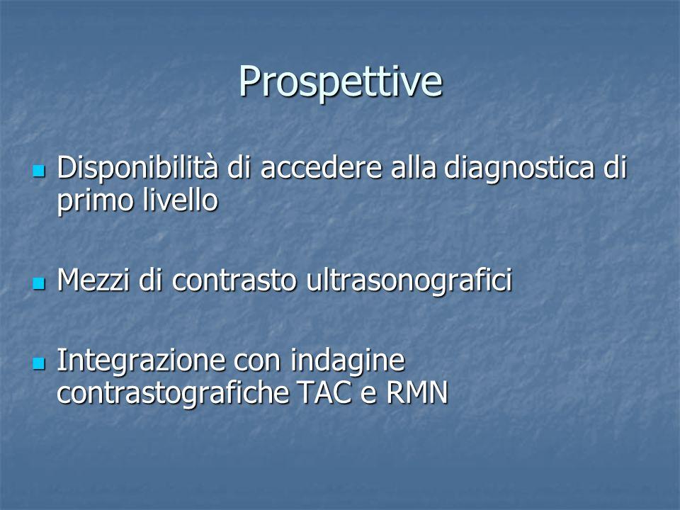 Prospettive Disponibilità di accedere alla diagnostica di primo livello. Mezzi di contrasto ultrasonografici.