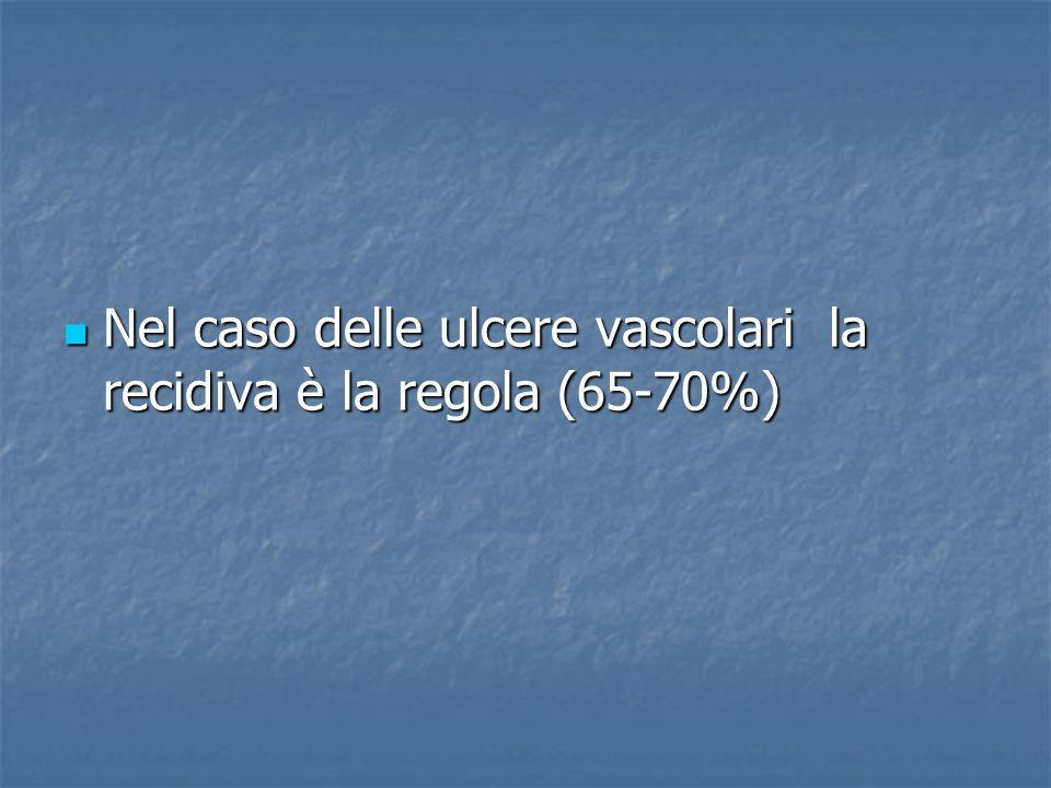 Nel caso delle ulcere vascolari la recidiva è la regola (65-70%)